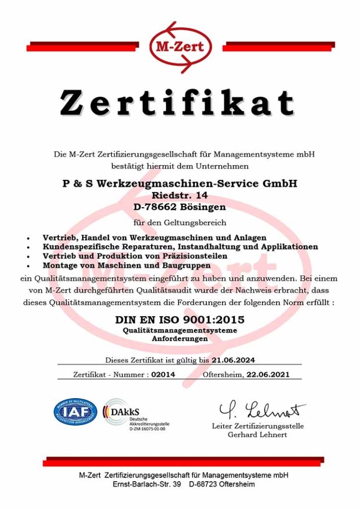 M-Zert DIN EN ISO 9001:2015 Qualitätsmanagementsysteme Anforderungen